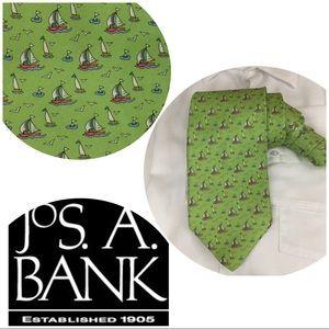 Jos.A. Bank Silk Sailboat Tie Apple Green